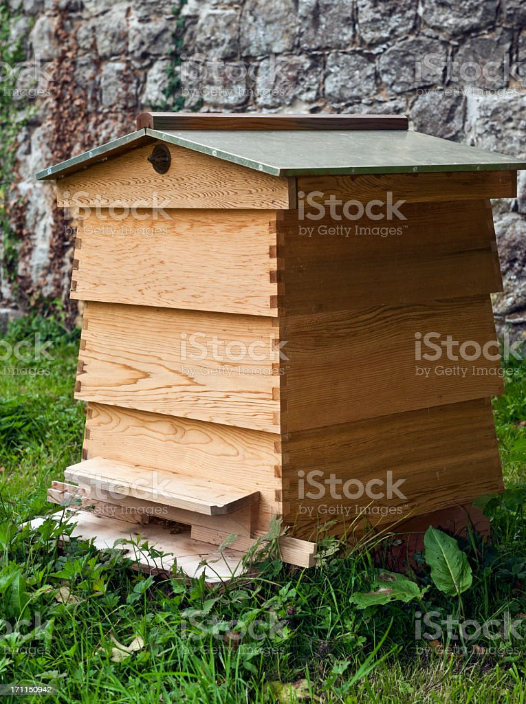 Wooden man made bee hive with multiple levels stock photo