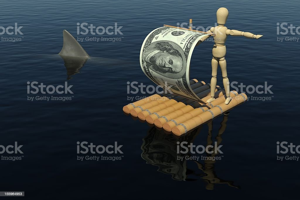 Wooden man on the raft with sail from dollar bill royalty-free stock photo