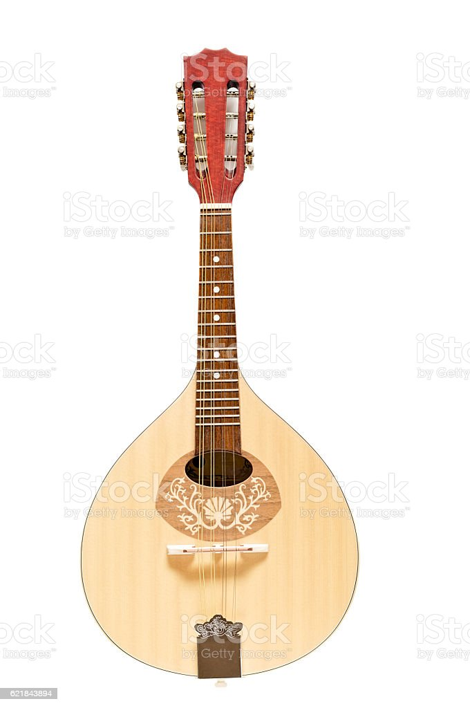 Wooden Mandolin Isolated on White stock photo