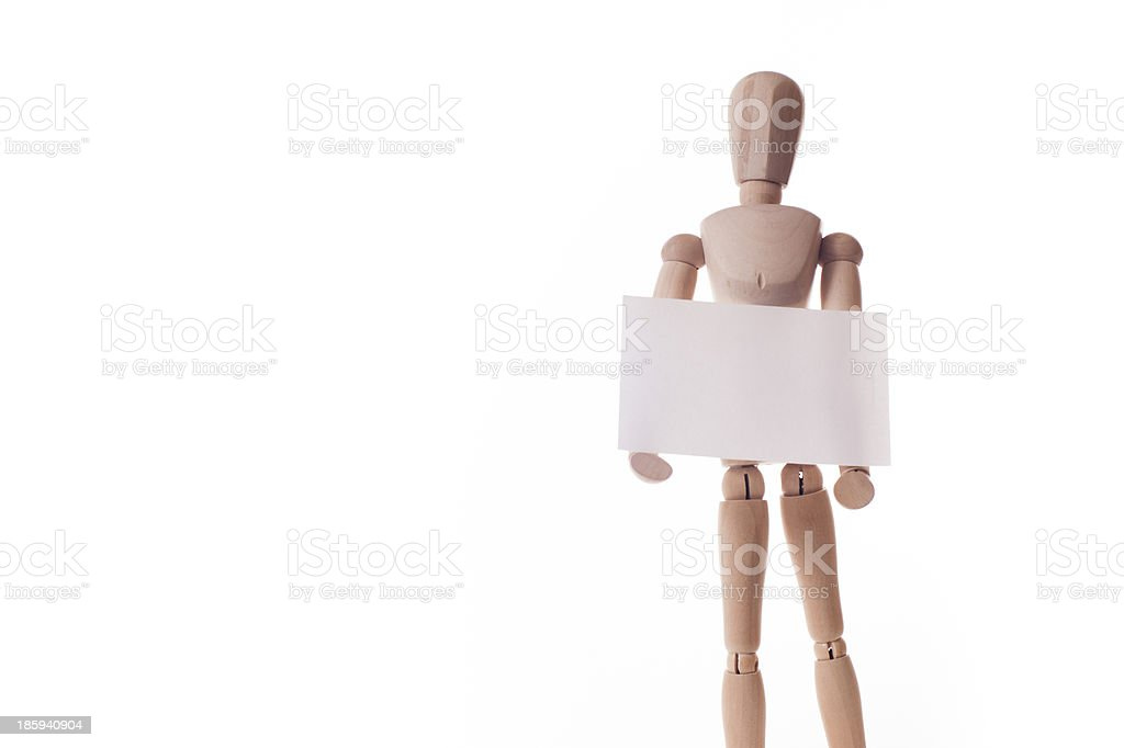 wooden manikin holds message board royalty-free stock photo
