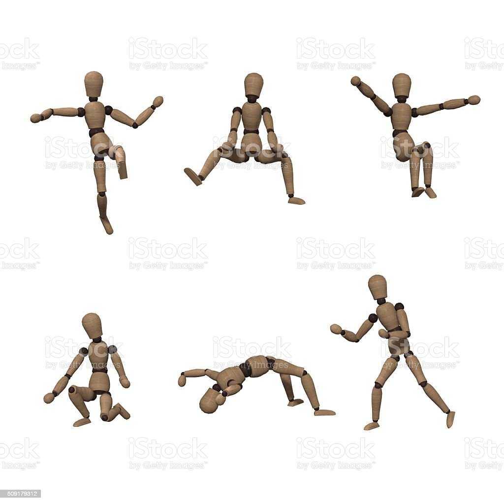 wooden manikin in various poses stock photo