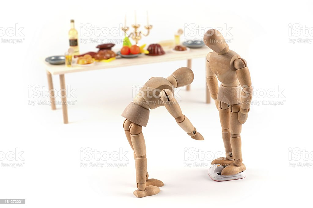 wooden mannequin and food stock photo