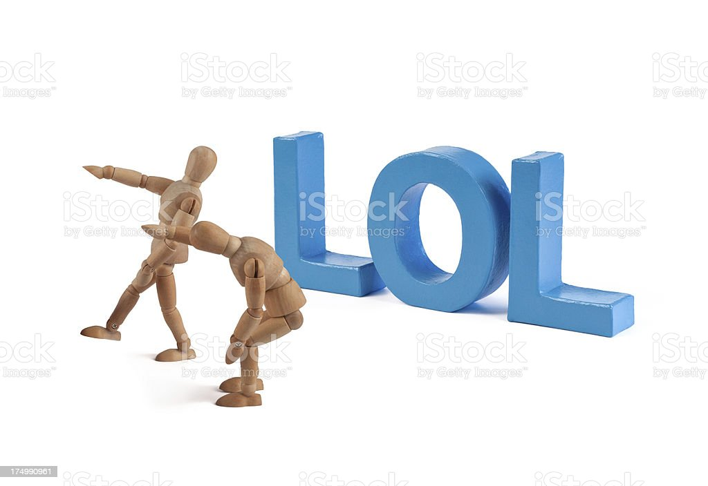 LOL - wooden mannequin and letters stock photo