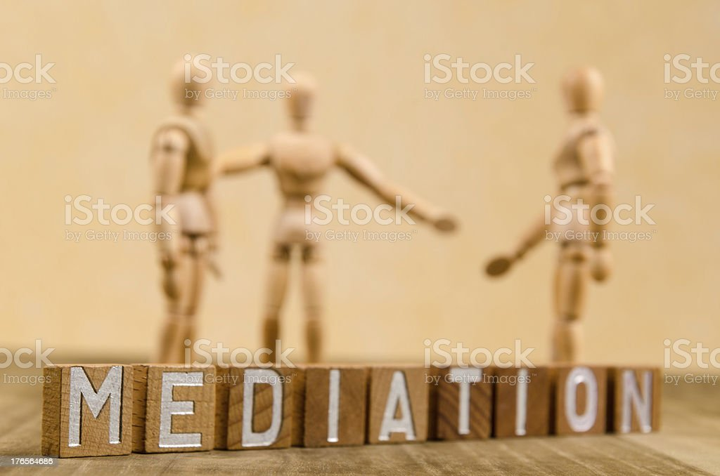 Wooden mannequin and mediation royalty-free stock photo