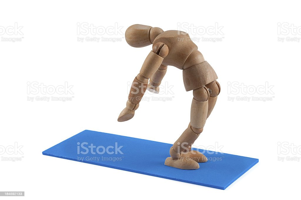 wooden mannequin and pose of yoga/ pilates stock photo