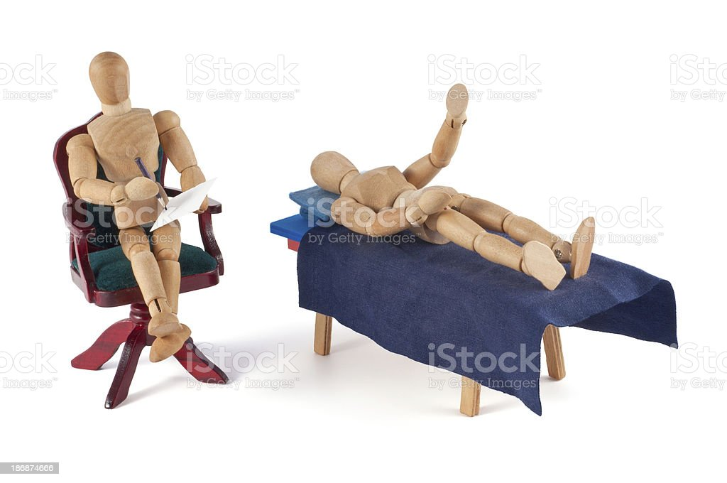 wooden mannequin and psychoanalysis stock photo
