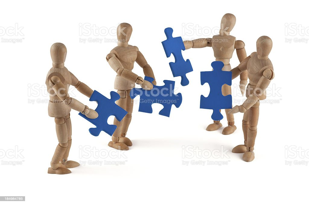 Wooden Mannequin and team work royalty-free stock photo