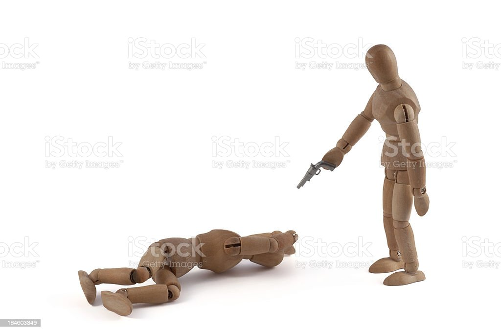 Wooden mannequin and violence - lynching justice stock photo