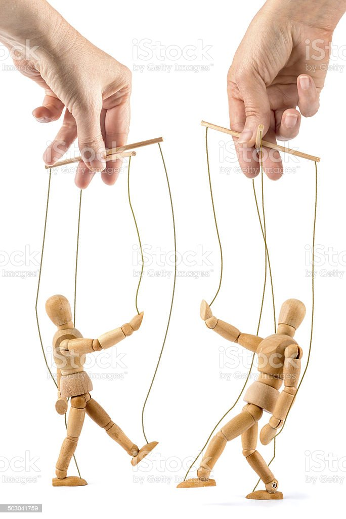 wooden mannequin as marionettes stock photo