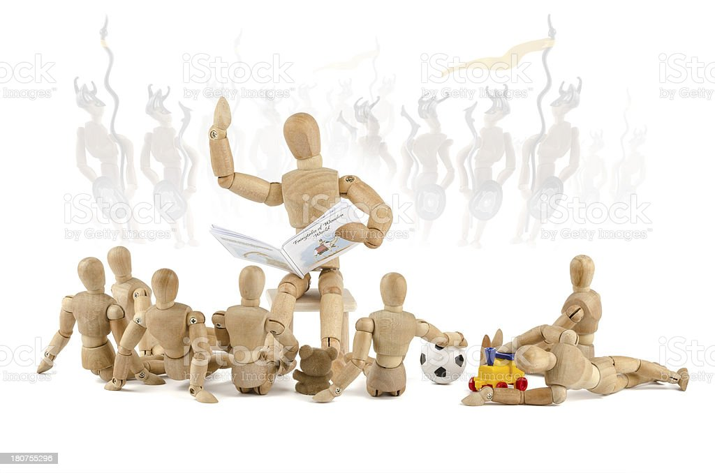 Wooden  mannequin children need heroes stock photo