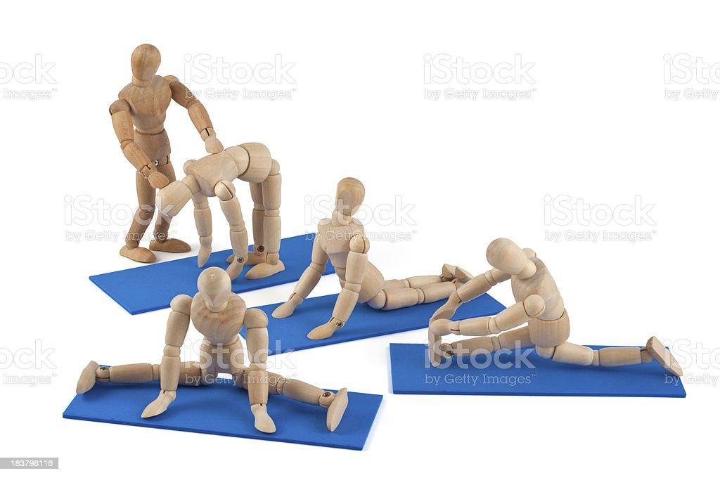 Wooden mannequin expert sports team stock photo