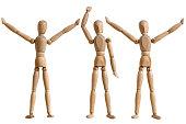 wooden mannequin, gesture of  waving