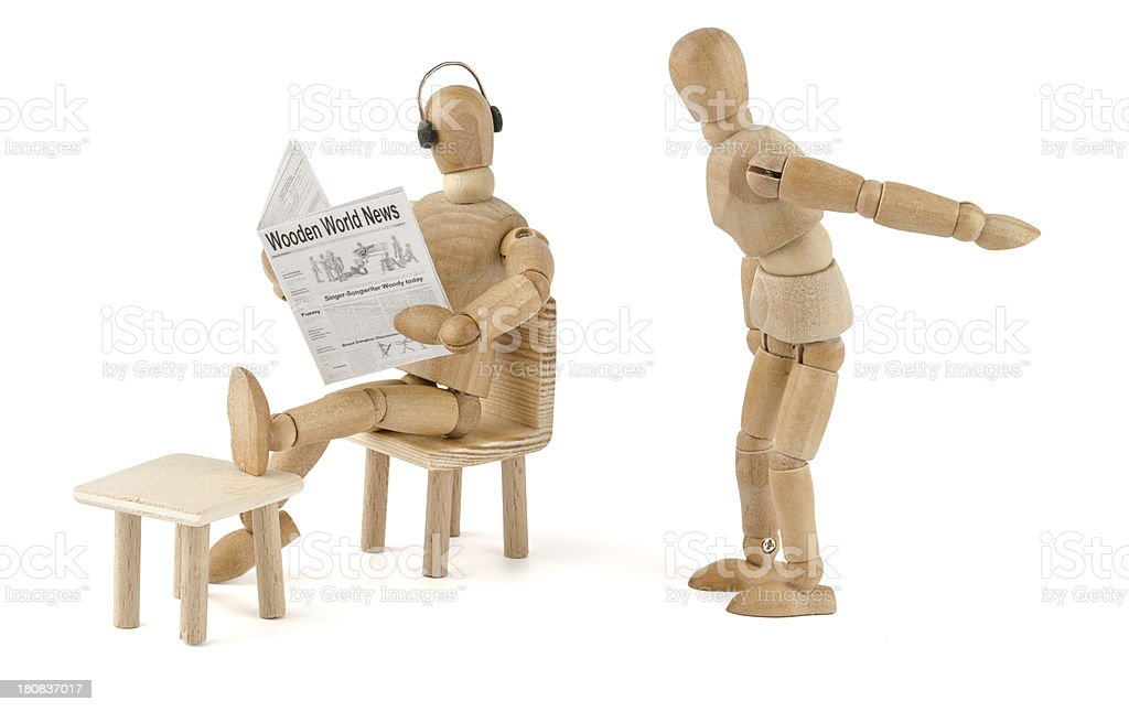 wooden mannequin has no stress with the wife royalty-free stock photo