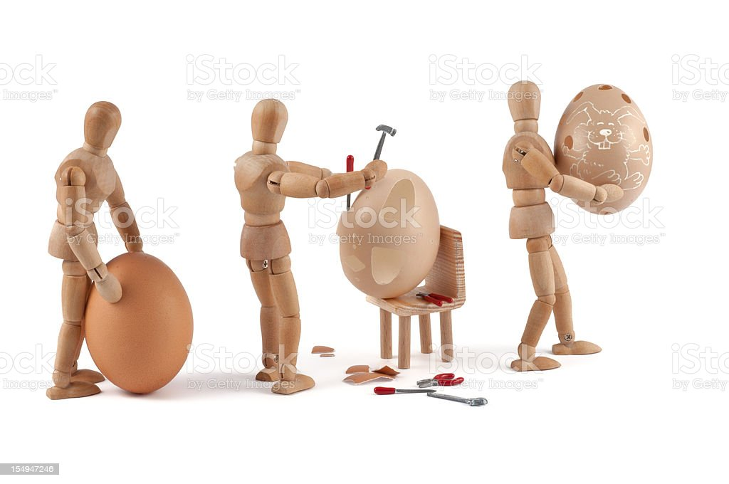 wooden mannequin in easter factory royalty-free stock photo