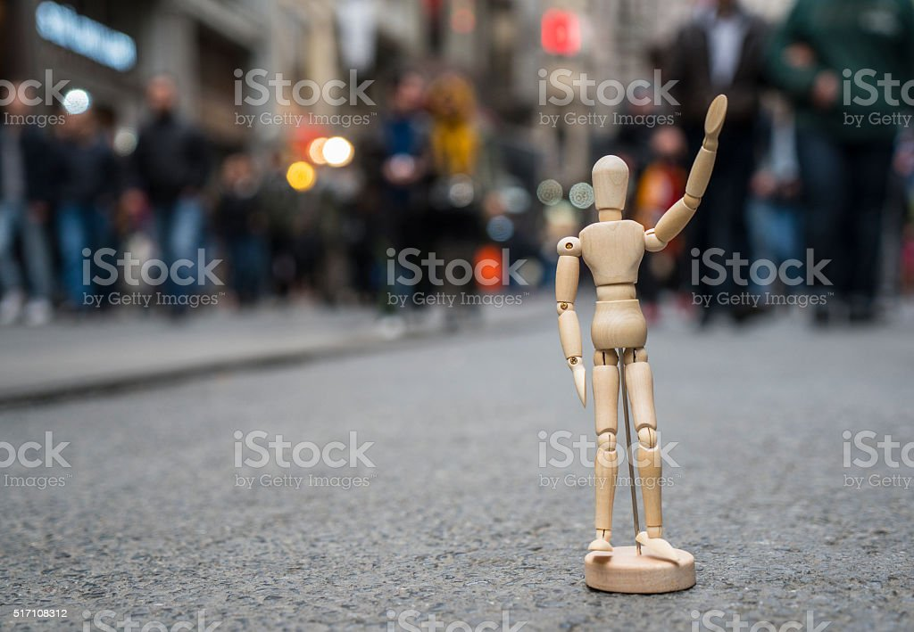 Wooden mannequin in Istiklal Street, Istanbul stock photo
