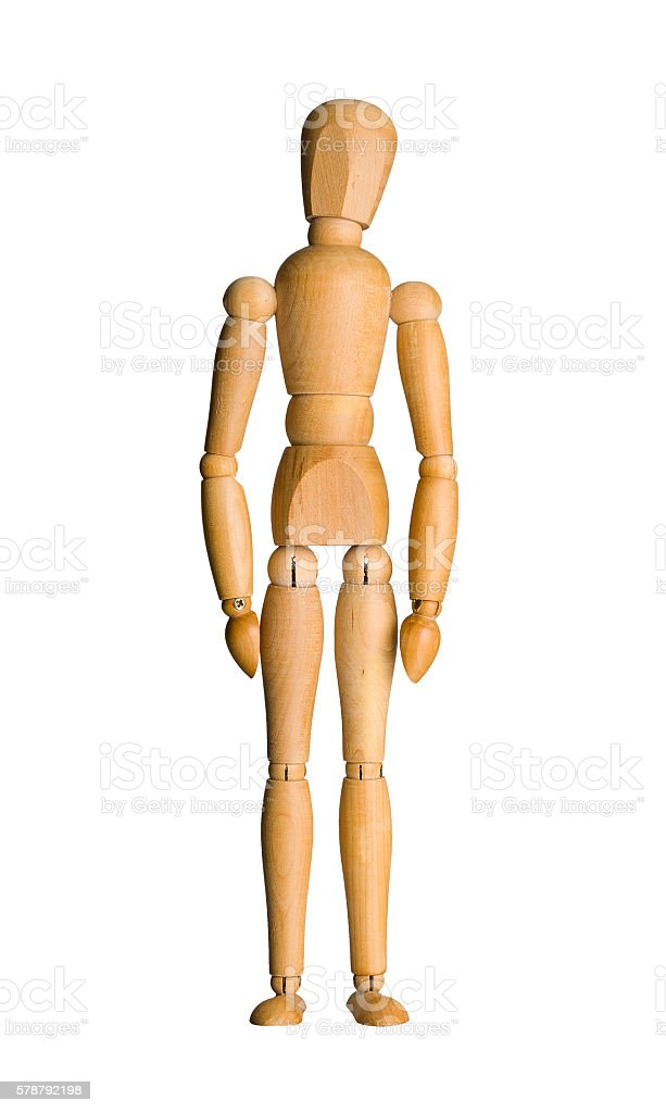Wooden mannequin isolated stock photo