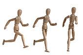 wooden mannequin jogging gesture