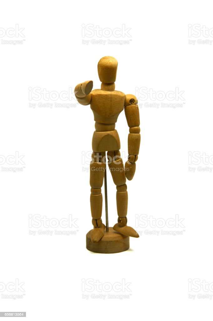 wooden mannequin, puppet, points his finger at you stock photo