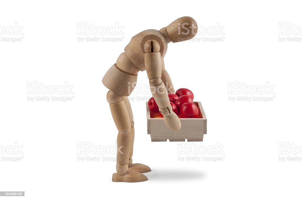 wooden mannequin shows wrong lifting without perserving the back stock photo