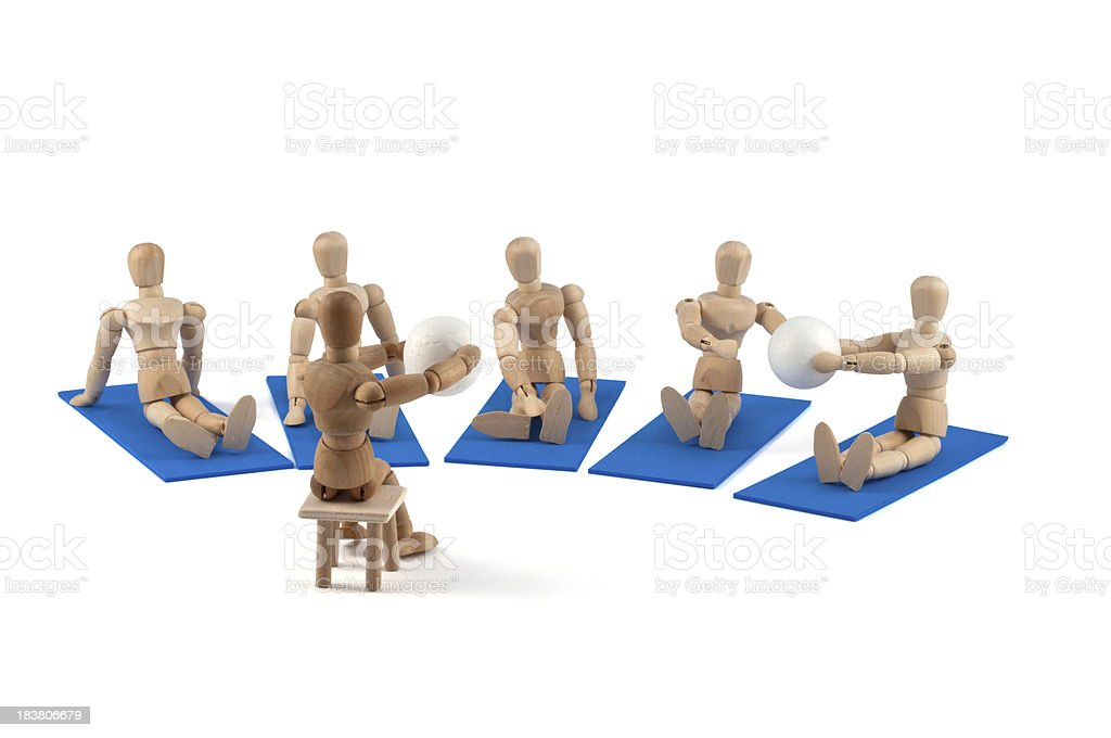 Wooden mannequin sports team stock photo