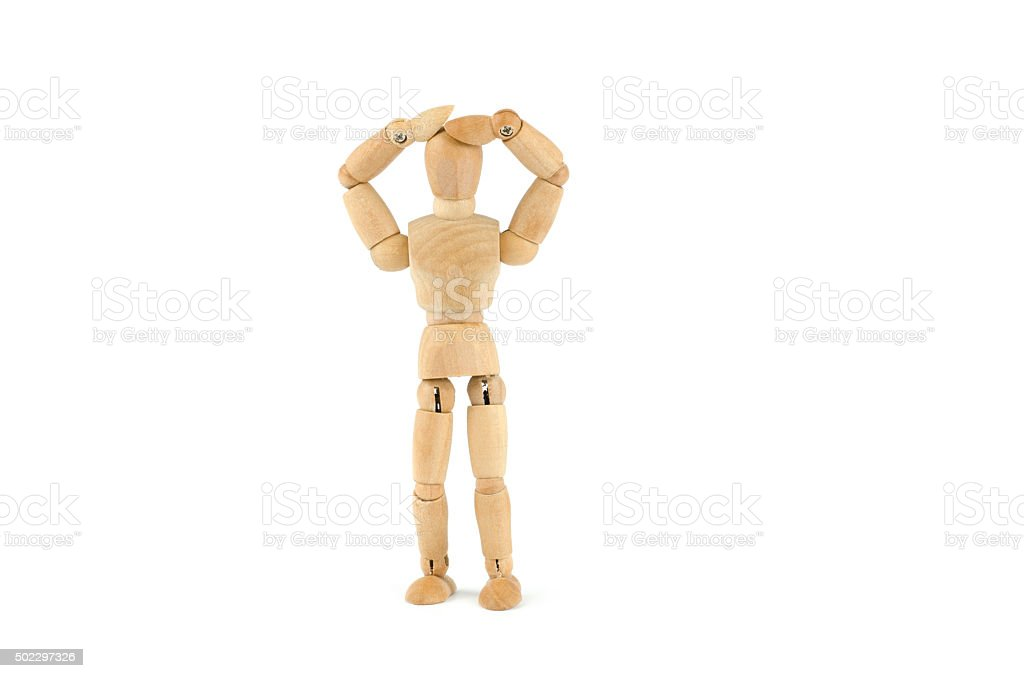 wooden mannequin throwing up the hands over the head stock photo