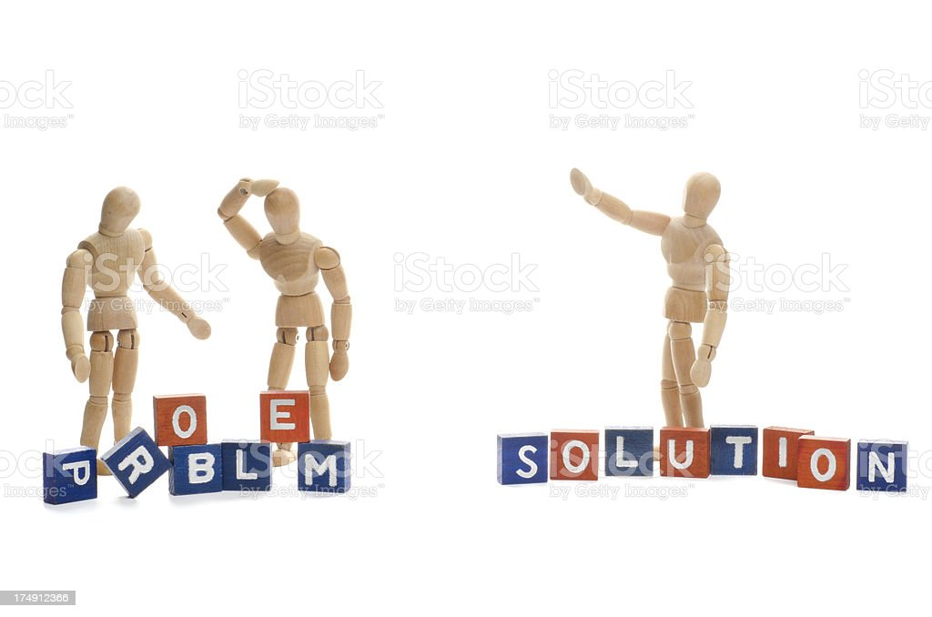 Wooden mannequin with solution royalty-free stock photo