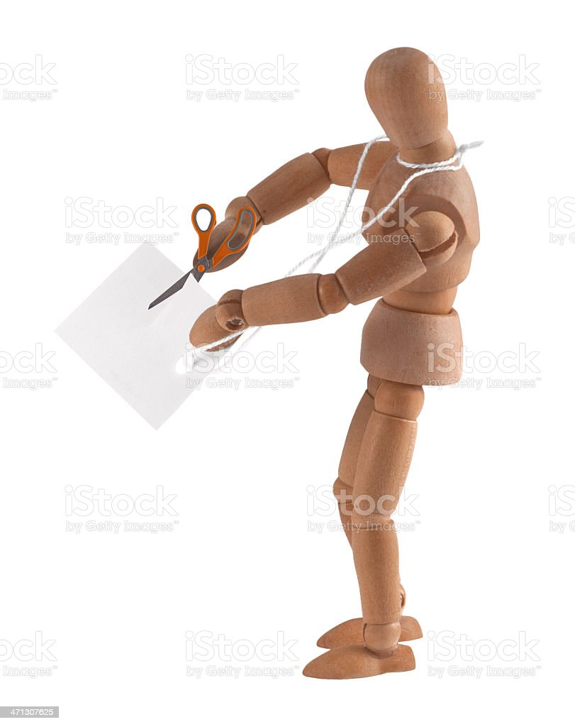 wooden mannequin with tag - add your own text royalty-free stock photo