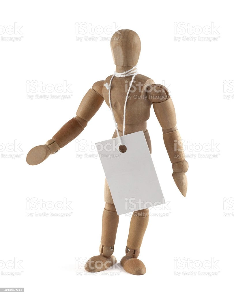 wooden mannequin with tag - add your own text stock photo