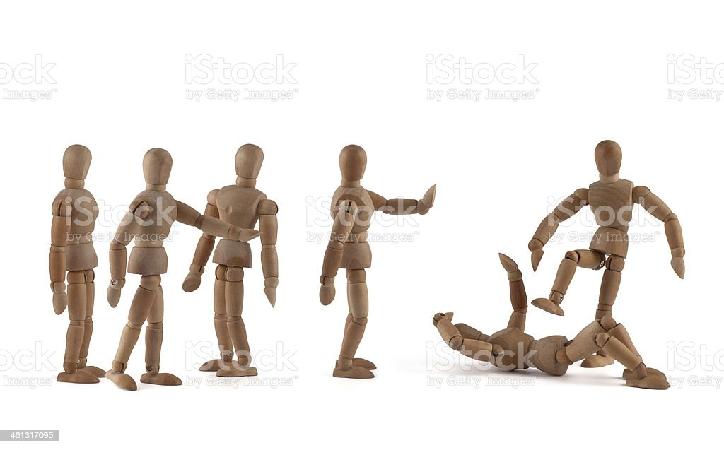 wooden mannequins and civil courage themes royalty-free stock photo