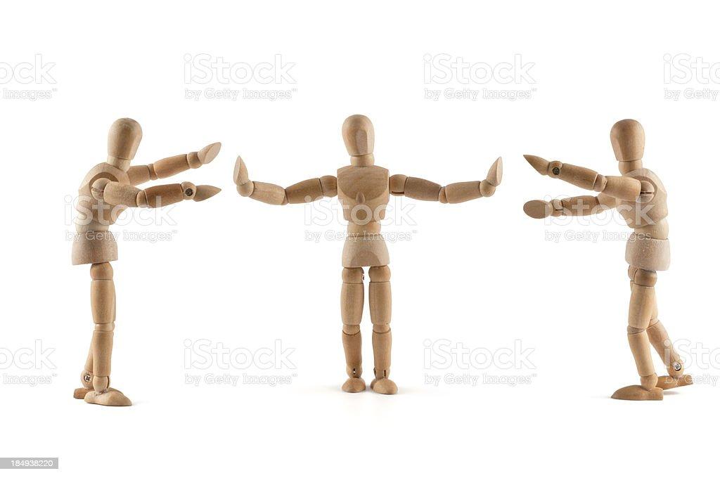 Wooden Mannequins need Mediation stock photo