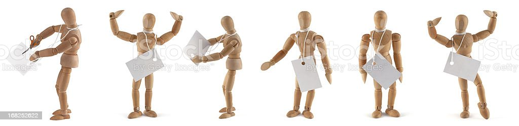 wooden mannequins with tags - add your own text stock photo