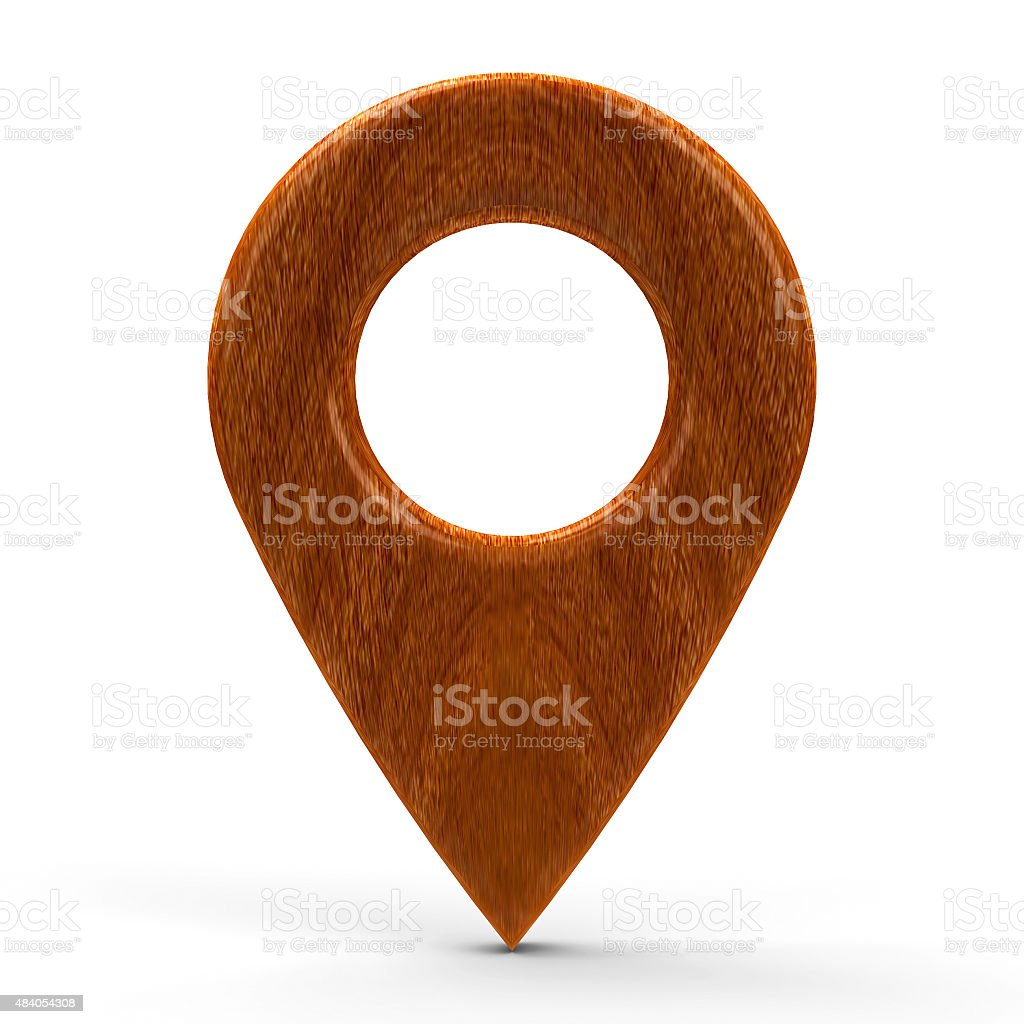 Wooden map pointer stock photo