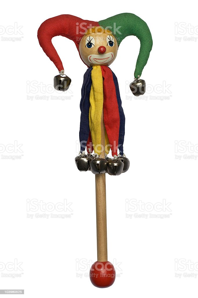 Wooden Marionette isolated on white stock photo