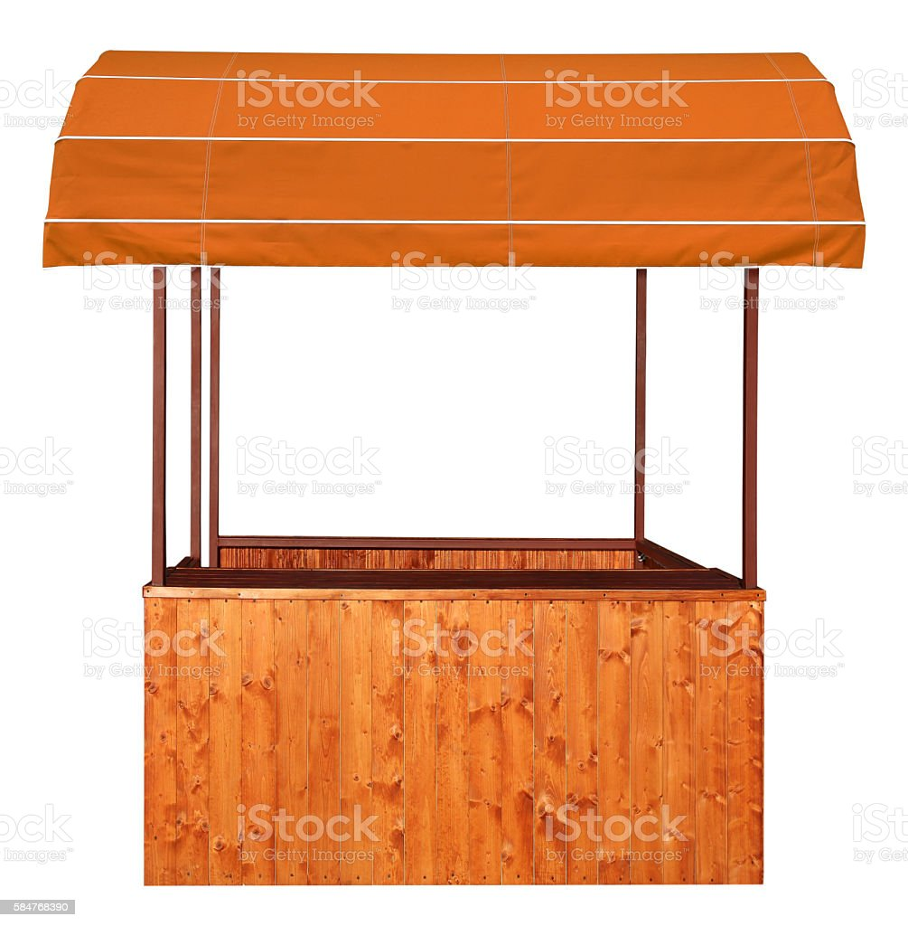 Wooden market stand stall with brown awning stock photo