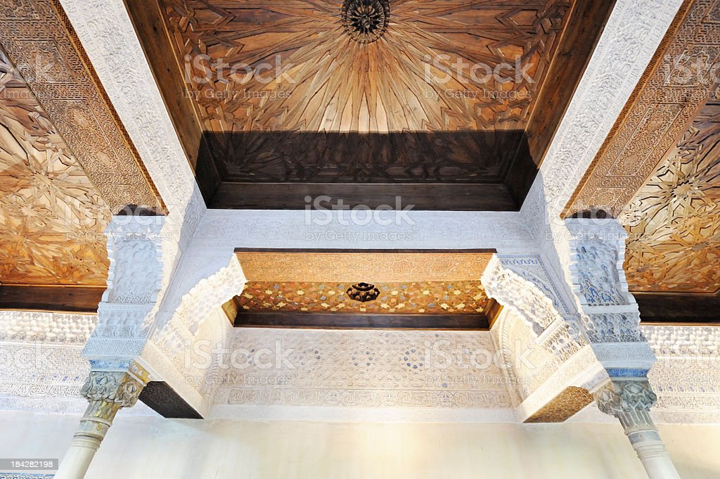 Wooden marquetry ceiling in the Mexuar Palace,  Alhambra, Spain stock photo