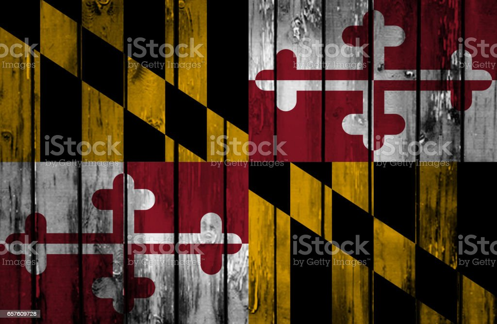 Wooden Maryland State flag stock photo