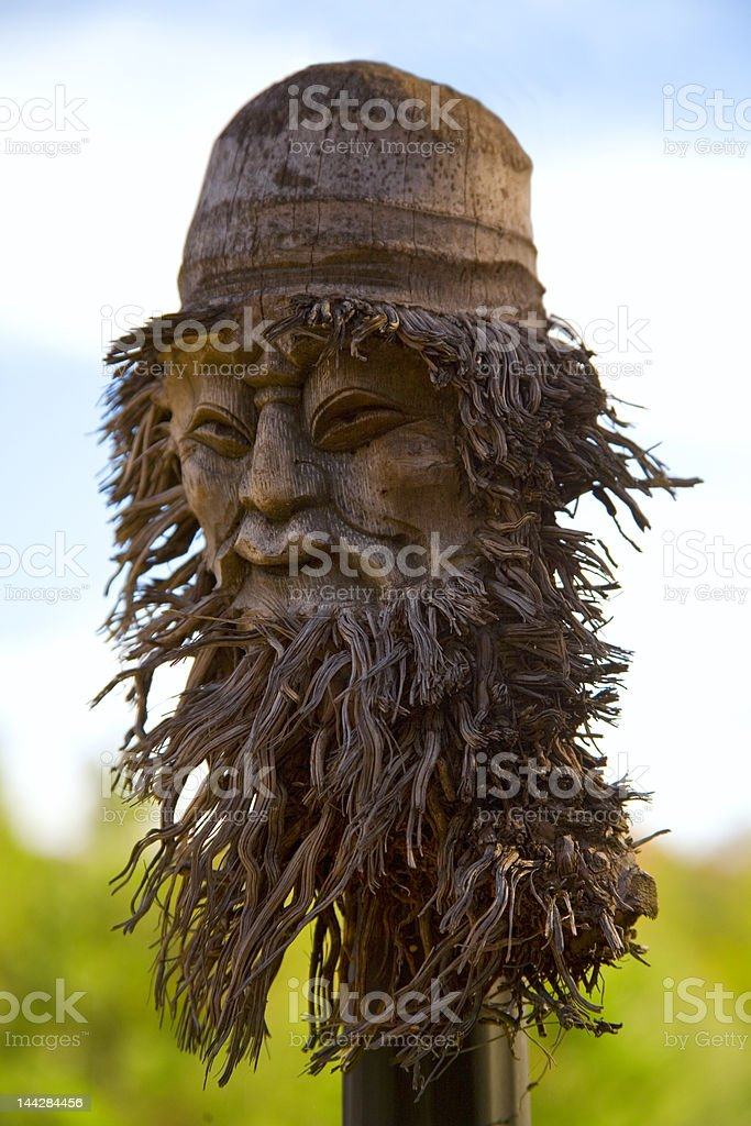 Wooden mask of old man royalty-free stock photo