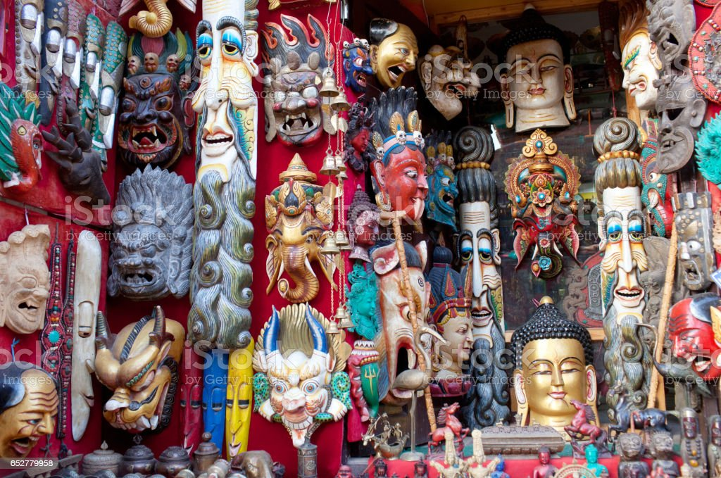 Wooden masks and handicrafts on sale in Bhaktapur, Nepal stock photo