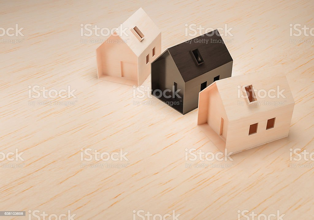 wooden mass model house 3d rendering stock photo