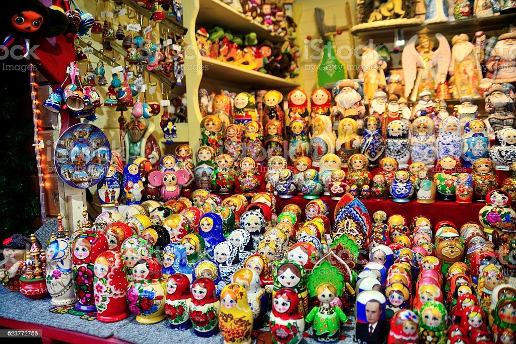 Wooden matrioshka decorations for sales. Russian dolls stock photo