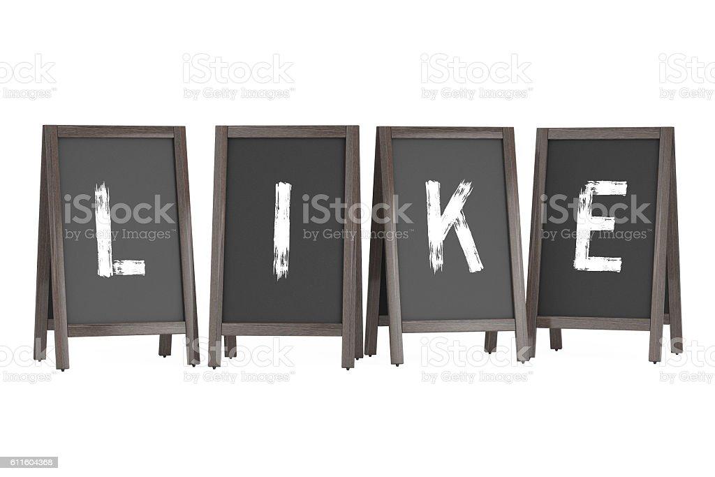 Wooden Menu Blackboard Outdoor Displays with Like Sign. 3d Rende stock photo