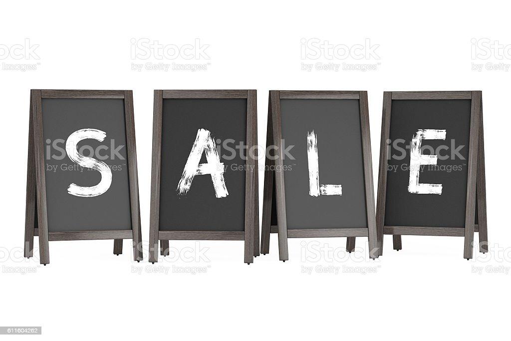 Wooden Menu Blackboard Outdoor Displays with Sale Sign. 3d Rende stock photo