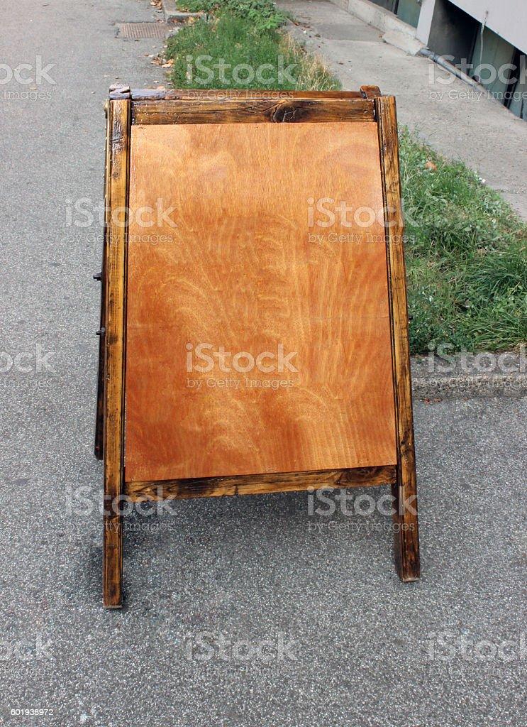 Wooden Menu board stock photo