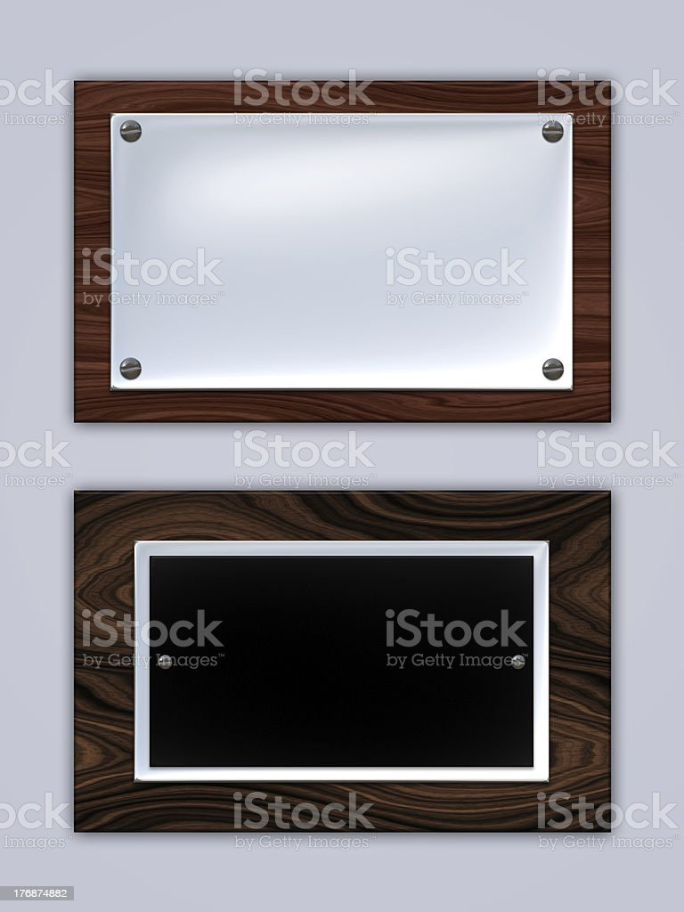 Wooden metal award plaques stock photo