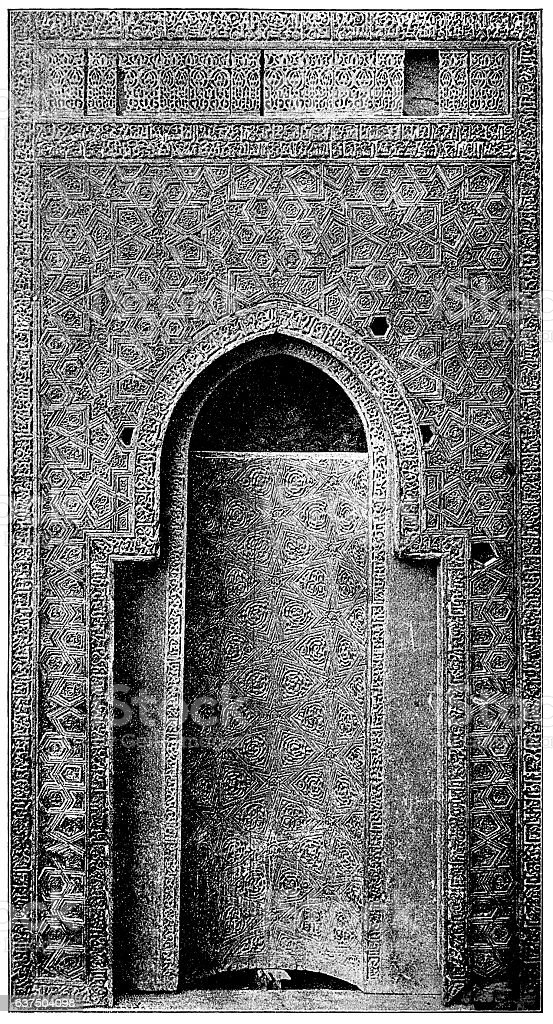 Wooden mihrab of Sayyida Ruqiyya stock photo
