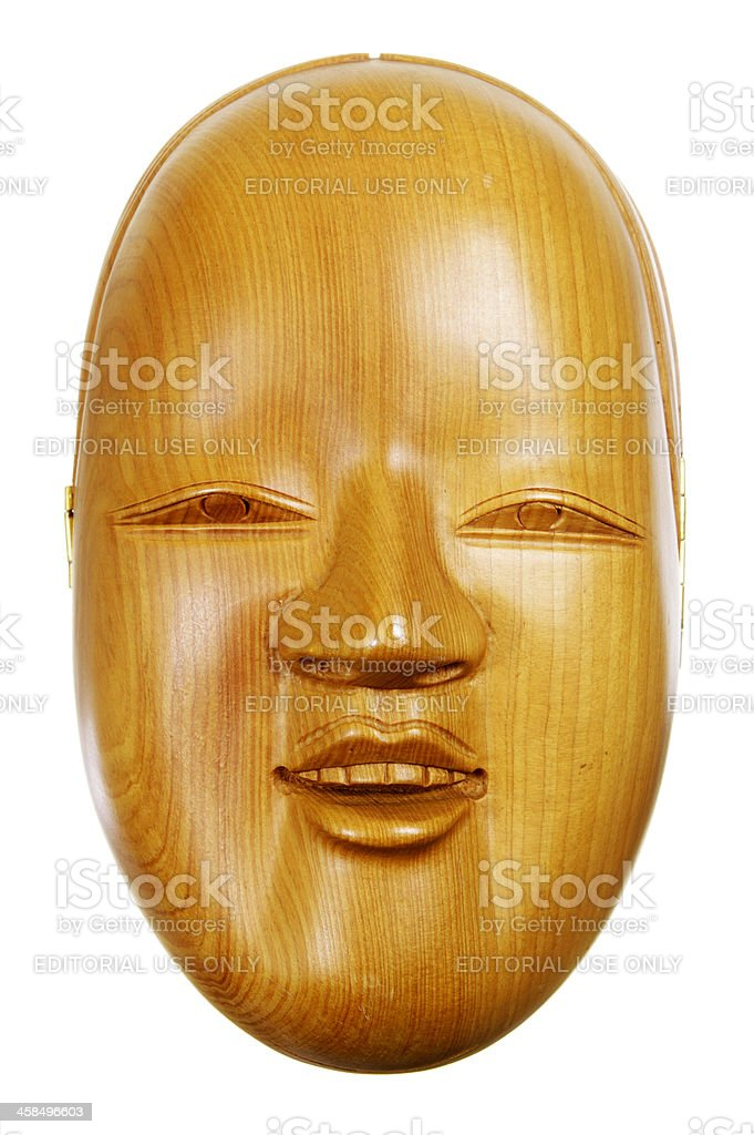 Wooden Minaudiere In The Style Of A Noh Mask stock photo