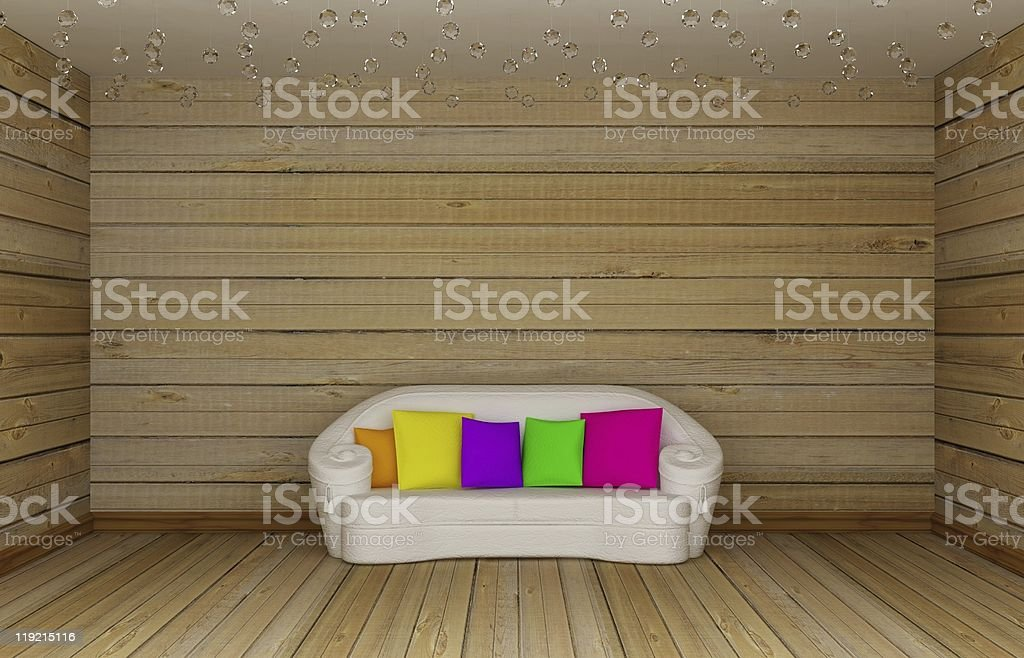 wooden minimalist living room with white couch royalty-free stock photo
