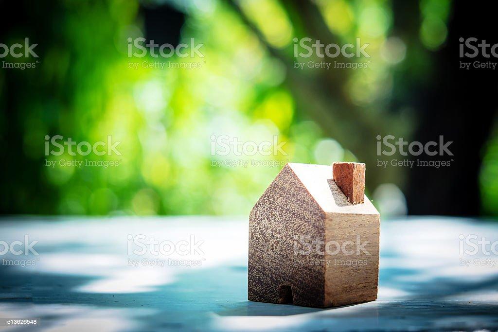 wooden model house stock photo
