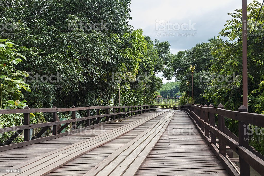Wooden Mon bridge in Thailand royalty-free stock photo