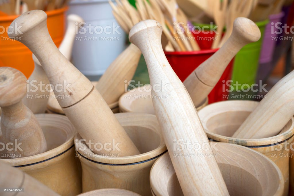 Wooden Mortar and Pestle stock photo